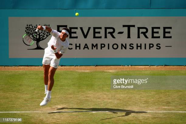 Milos Raonic of Canada serves during his Quarter-Final Singles Match against Feliciano Lopez of Spain during day Five of the Fever-Tree Championships...