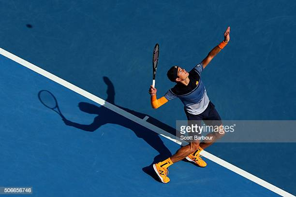 Milos Raonic of Canada serves in his fourth round match against Stan Wawrinka of Switzerland during day eight of the 2016 Australian Open at...