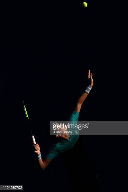 Milos Raonic of Canada serves in his quarter final match against Lucas Pouille of France during day 10 of the 2019 Australian Open at Melbourne Park...