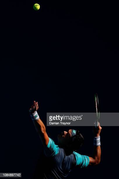 Milos Raonic of Canada serves in his third round match against PierreHugues Herbert of France during day six of the 2019 Australian Open at Melbourne...
