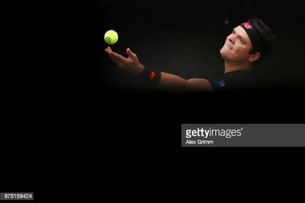 Milos Raonic of Canada serves the ball to Tomas Berdych of Czech Republic during day 5 of the Mercedes Cup at Tennisclub Weissenhof on June 15 2018...