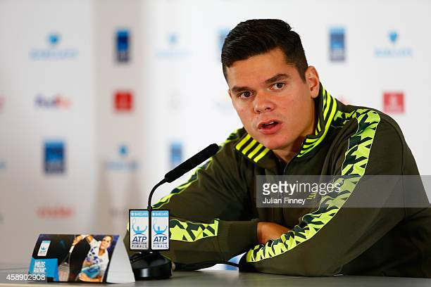 Milos Raonic of Canada speaks at a press conference after pulling out of the tournament with an injury on day five of the Barclays ATP World Tour...