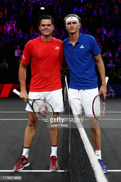 Milos Raonic of Team World and Alexander Zverev of Team Europe pose for a photo prior to their singles match during Day Three of the Laver Cup 2019...