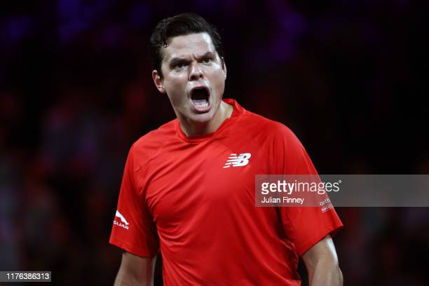 Milos Raonic of Team World celebrates in the final match of the tournament against Alexander Zverev of Team Europe during Day Three of the Laver Cup...