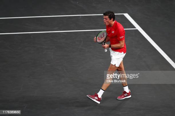 Milos Raonic of Team World celebrates winning the second set in the final match of the tournament against Alexander Zverev of Team Europe during Day...