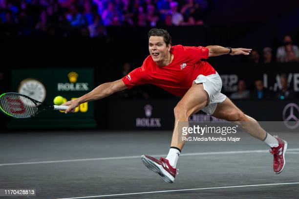 Milos Raonic of Team World plays a forehand during Day 3 of the Laver Cup 2019 at Palexpo on September 22, 2019 in Geneva, Switzerland. The Laver Cup...
