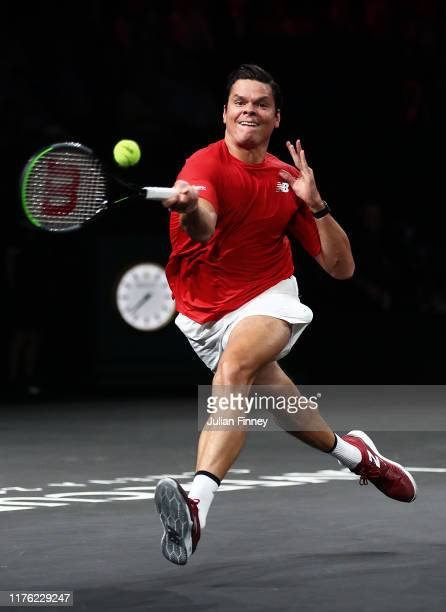 Milos Raonic of Team World plays a forehand in his singles match against Rafael Nadal of Team Europe during Day Two of the Laver Cup 2019 at Palexpo...