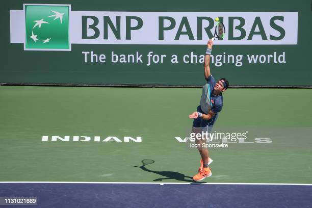 Milos Raonic serves during the BNP Paribas Open on March 16, 2019 at Indian Wells Tennis Garden in Indian Wells, CA.