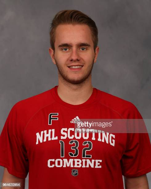 Milos Roman poses for a headshot at the NHL Scouting Combine on May 31 2018 at HarborCenter in Buffalo New York