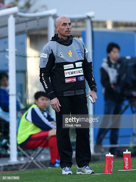 Milos Ruscoach of Yokohama FC looks on during the JLeague second division match between Yokohama FC and Tokyo Verdy at the Nippatsu Mitsuzawa Stadium...
