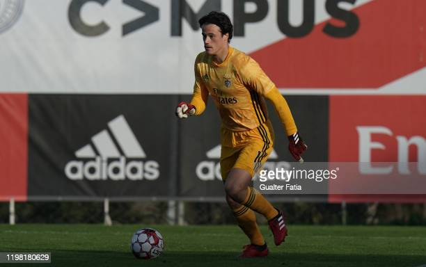 Milos Svilar of SL Benfica B controls the ball during the Liga Pro match between SL Benfica B and UD Vilafranquense at Benfica Campus on February 2...