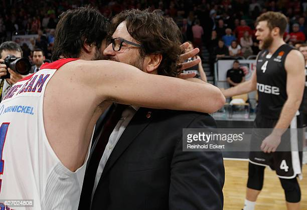 Milos Teodosic #4 of CSKA Moscow and Andrea Trincheri Head Coach of Brose Bamberg after the 2016/2017 Turkish Airlines EuroLeague Regular Season...