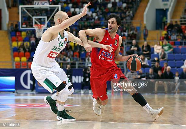 Milos Teodosic #4 of CSKA Moscow competes with Antanas Kavaliauskas #44 of Zalgiris Kaunas in action during the 2016/2017 Turkish Airlines EuroLeague...