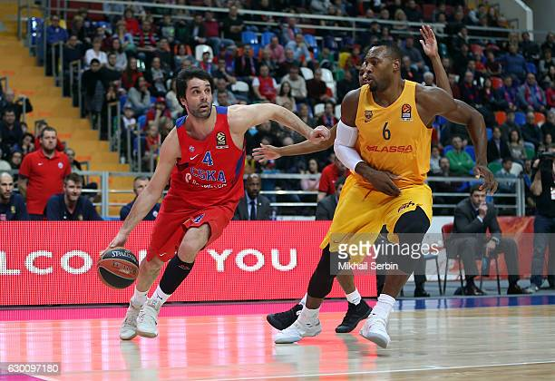 Milos Teodosic #4 of CSKA Moscow competes with Joey Dorsey #6 of FC Barcelona Lassa during the 2016/2017 Turkish Airlines EuroLeague Regular Season...