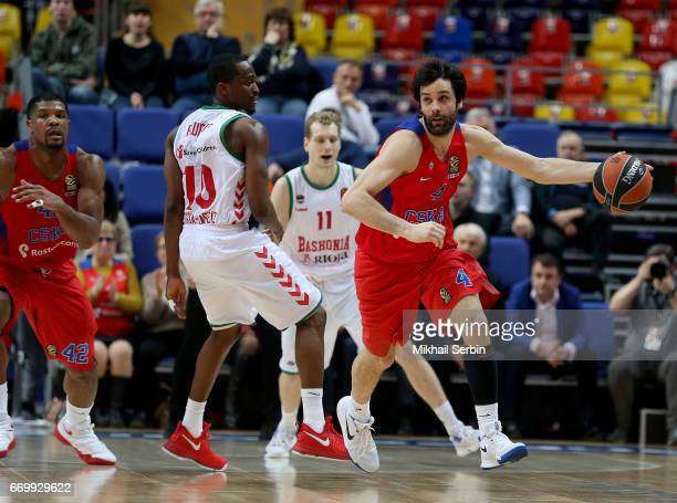 Milos Teodosic #4 of CSKA Moscow competes with Rodrigue Beaubois #10 of Baskonia Vitoria Gasteiz in action during the 2016/2017 Turkish Airlines...