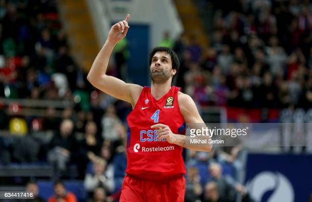 Milos Teodosic #4 of CSKA Moscow in action during the 2016/2017 Turkish Airlines EuroLeague Regular Season Round 22 game between CSKA Moscow v Crvena...