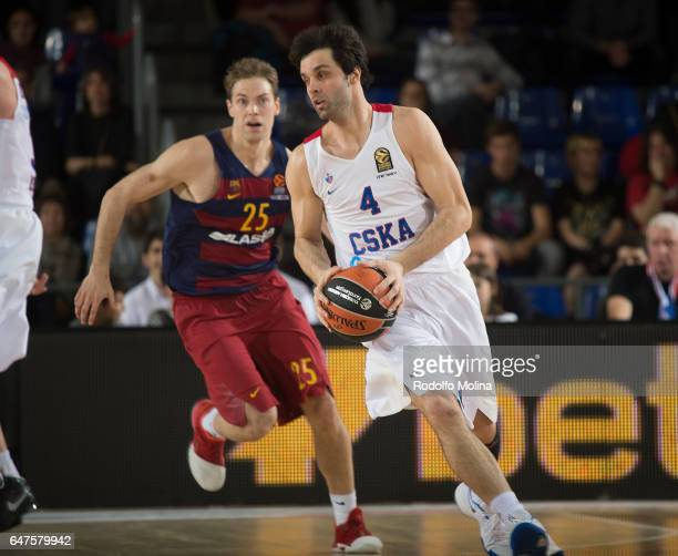Milos Teodosic #4 of CSKA Moscow in action during the 2016/2017 Turkish Airlines EuroLeague Regular Season Round 24 game between FC Barcelona Lassa v...