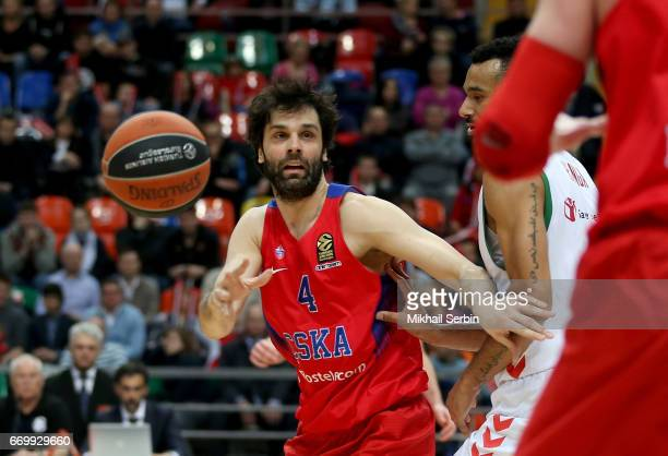 Milos Teodosic #4 of CSKA Moscow in action during the 2016/2017 Turkish Airlines EuroLeague Playoffs leg 1 game between CSKA Moscow v Baskonia...