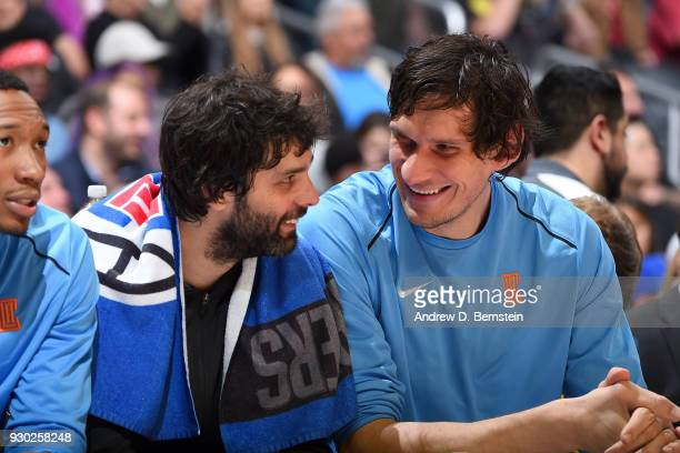 Milos Teodosic and Boban Marjanovic of the LA Clippers talk during the game against the Orlando Magic on March 10 2018 at STAPLES Center in Los...