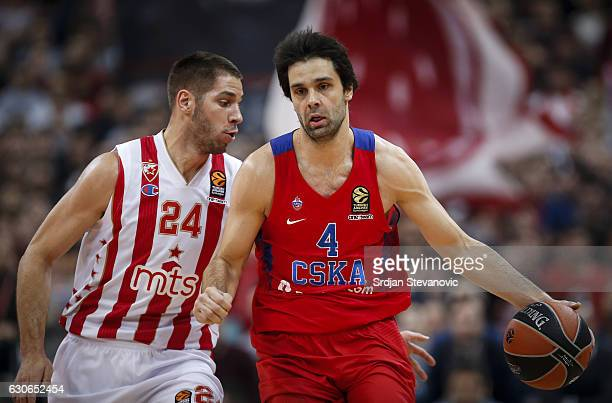 Milos Teodosic of CSKA Moscow in action against Stefan Jovic of Crvena Zvezda during the 2016/2017 Turkish Airlines Euroleague Regular Season Round...