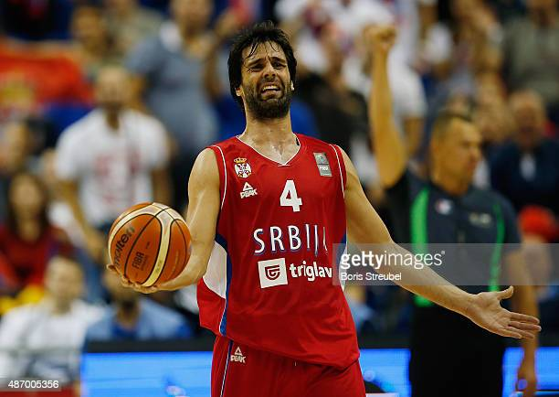 Milos Teodosic of Serbia reacts during the FIBA EuroBasket 2015 Group B basketball match between Spain and Serbia at Arena of EuroBasket 2015 on...