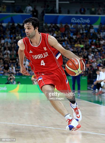 Milos Teodosic of Serbia sets up the offesnse during quarterfinal match against Croatia on August 17 2016 in Rio de Janeiro Brazil