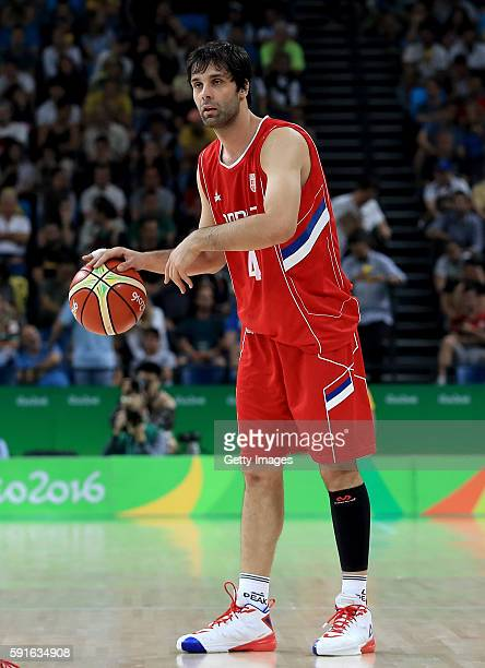 Milos Teodosic of Serbia sets up the offesnse during quarterfinal match against Croatia on August 17, 2016 in Rio de Janeiro, Brazil.