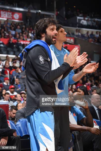 Milos Teodosic of the LA Clippers cheers during the game against the New Orleans Pelicans on March 6 2018 at STAPLES Center in Los Angeles California...