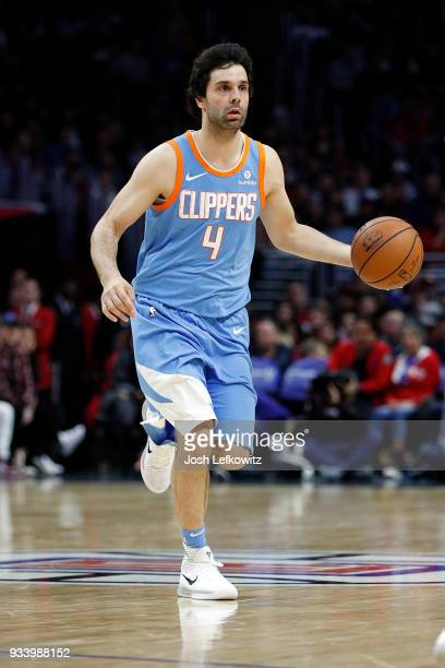 Milos Teodosic of the LA Clippers controls the ball during the game against the Portland Trail Blazers at the Staples Center on March 18 2018 in Los...