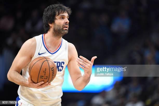 Milos Teodosic of the LA Clippers directs his team during the game against the Denver Nuggets at Pepsi Center on February 27 2018 in Denver Colorado...