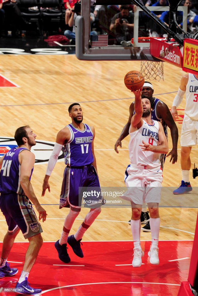 Milos Teodosic #4 of the LA Clippers goes to the basket against the Sacramento Kings on October 12, 2017 at STAPLES Center in Los Angeles, California.