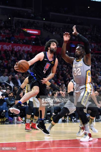 Milos Teodosic of the LA Clippers goes to the basket against the Cleveland Cavaliers on March 8 2018 at STAPLES Center in Los Angeles California NOTE...