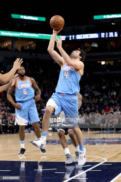 Milos Teodosic of the LA Clippers goes to the basket against the Minnesota Timberwolves on March 20 2018 at Target Center in Minneapolis Minnesota...