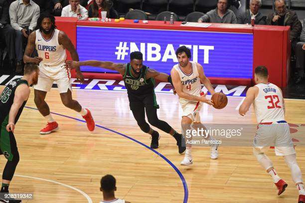 Milos Teodosic of the LA Clippers handles the ball against the Boston Celtics on January 24 2018 at STAPLES Center in Los Angeles California NOTE TO...