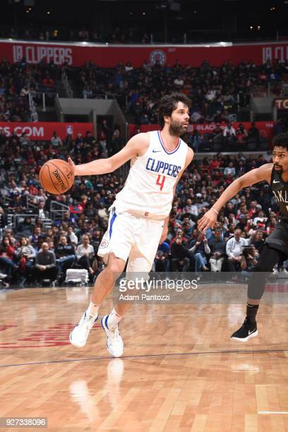 Milos Teodosic of the LA Clippers handles the ball against the Brooklyn Nets on March 4 2018 at STAPLES Center in Los Angeles California NOTE TO USER...