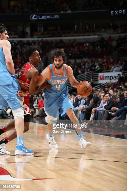 Milos Teodosic of the LA Clippers handles the ball against the Chicago Bulls on March 13 2018 at the United Center in Chicago Illinois NOTE TO USER...