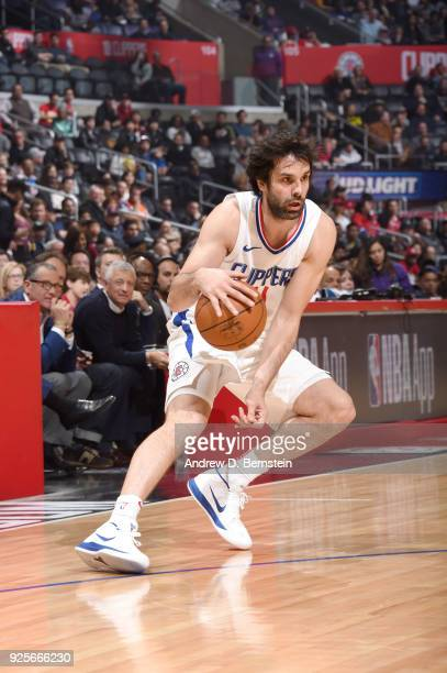 Milos Teodosic of the LA Clippers handles the ball against the Houston Rockets on February 28 2018 at STAPLES Center in Los Angeles California NOTE...