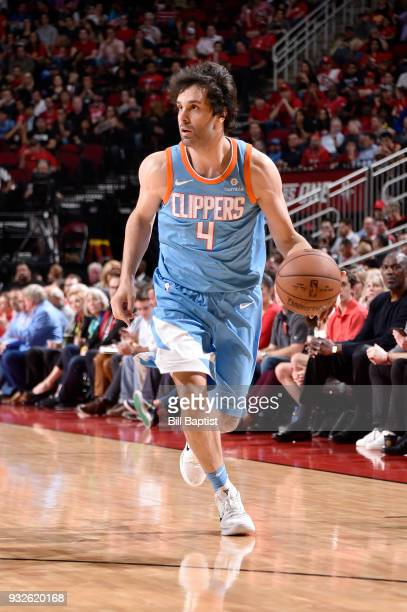Milos Teodosic of the LA Clippers handles the ball against the Houston Rockets on March 15 2018 at the Toyota Center in Houston Texas NOTE TO USER...