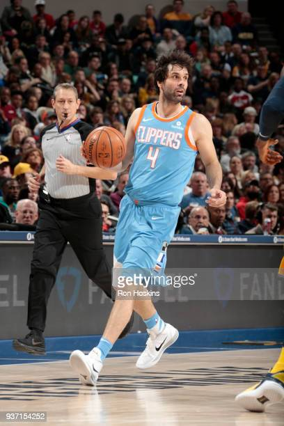 Milos Teodosic of the LA Clippers handles the ball against the Indiana Pacers on March 23 2018 at Bankers Life Fieldhouse in Indianapolis Indiana...