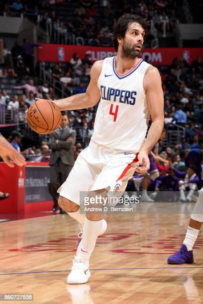 Milos Teodosic of the LA Clippers handles the ball against the Sacramento Kings on October 12 2017 at STAPLES Center in Los Angeles California NOTE...