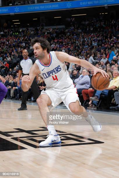 Milos Teodosic of the LA Clippers handles the ball against the Sacramento Kings on January 11 2018 at Golden 1 Center in Sacramento California NOTE...