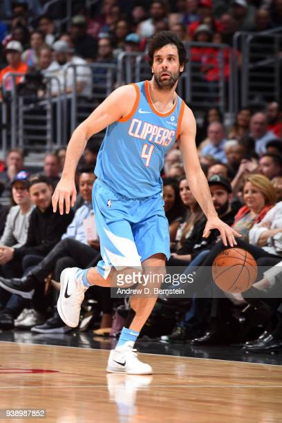 Milos Teodosic of the LA Clippers handles the ball against the Milwaukee Bucks on March 27 2018 at STAPLES Center in Los Angeles California NOTE TO...