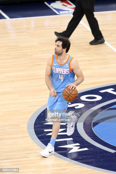Milos Teodosic of the LA Clippers handles the ball against the Minnesota Timberwolves on March 20 2018 at Target Center in Minneapolis Minnesota NOTE...