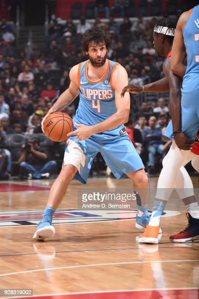 Milos Teodosic of the LA Clippers handles the ball against the New Orleans Pelicans on March 6 2018 at STAPLES Center in Los Angeles California NOTE...