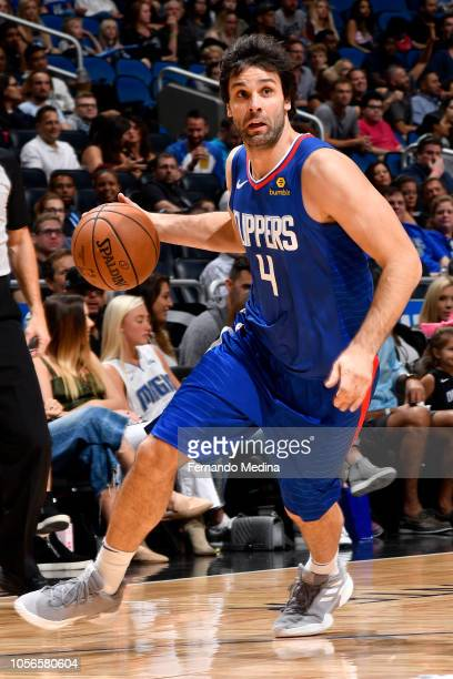Milos Teodosic of the LA Clippers handles the ball against the Orlando Magic on November 2, 2018 at Amway Center in Orlando, Florida. NOTE TO USER:...