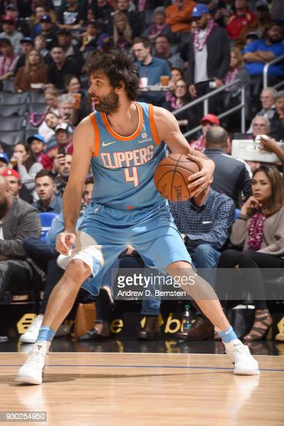 Milos Teodosic of the LA Clippers handles the ball against the Orlando Magic on March 10 2018 at STAPLES Center in Los Angeles California NOTE TO...