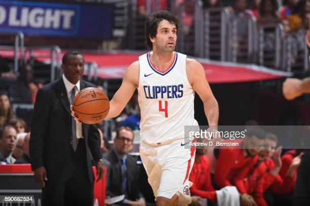 Milos Teodosic of the LA Clippers handles the ball against the Toronto Raptors on December 11 2017 at STAPLES Center in Los Angeles California NOTE...