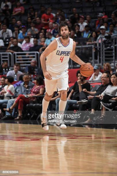 Milos Teodosic of the LA Clippers handles the ball during the 2017 NBA PreSeason game against the Portland Trail Blazers on October 8 2017 at STAPLES...