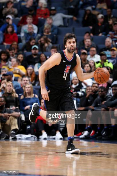 Milos Teodosic of the LA Clippers handles the ball during the game against the Memphis Grizzlies on December 23 2017 at FedExForum in Memphis...