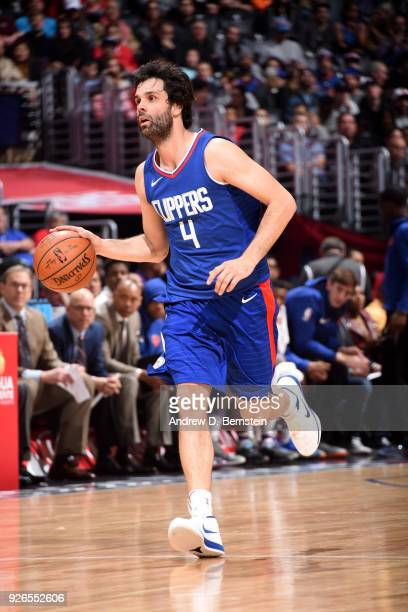 Milos Teodosic of the LA Clippers handles the ball during the game against the New York Knicks on March 2 2018 at STAPLES Center in Los Angeles...